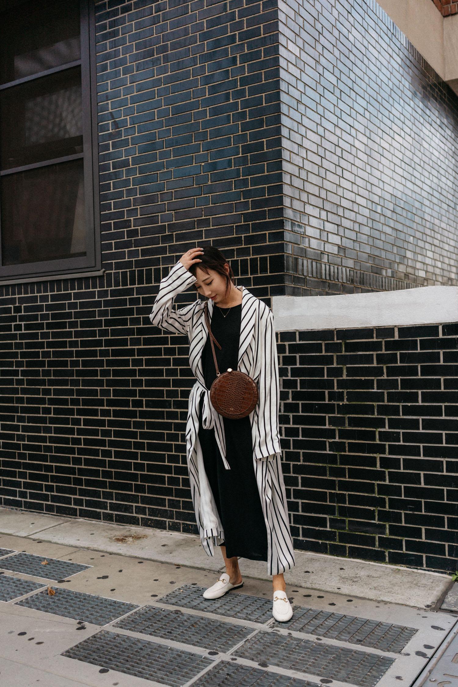 Asceno Jacket , COS Dress,  Gucci Slides ,  CO Collection Bag
