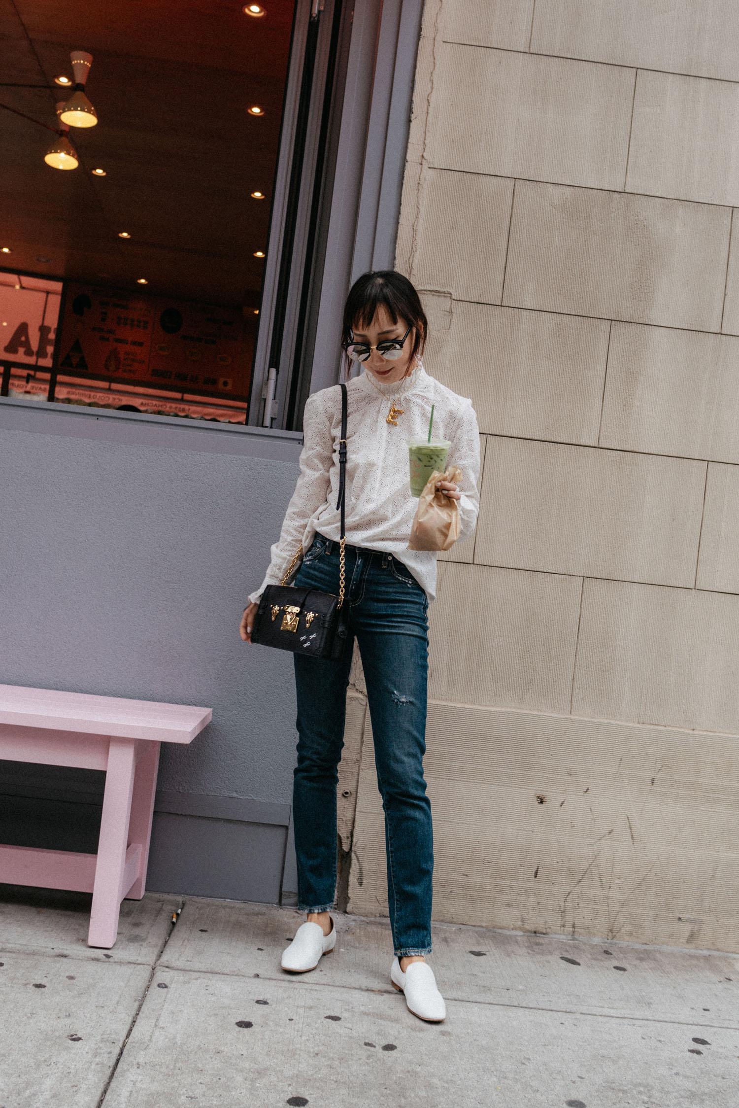 Sézane Top , Trave Denim, The Row Loafers,  Louis Vuitton Bag