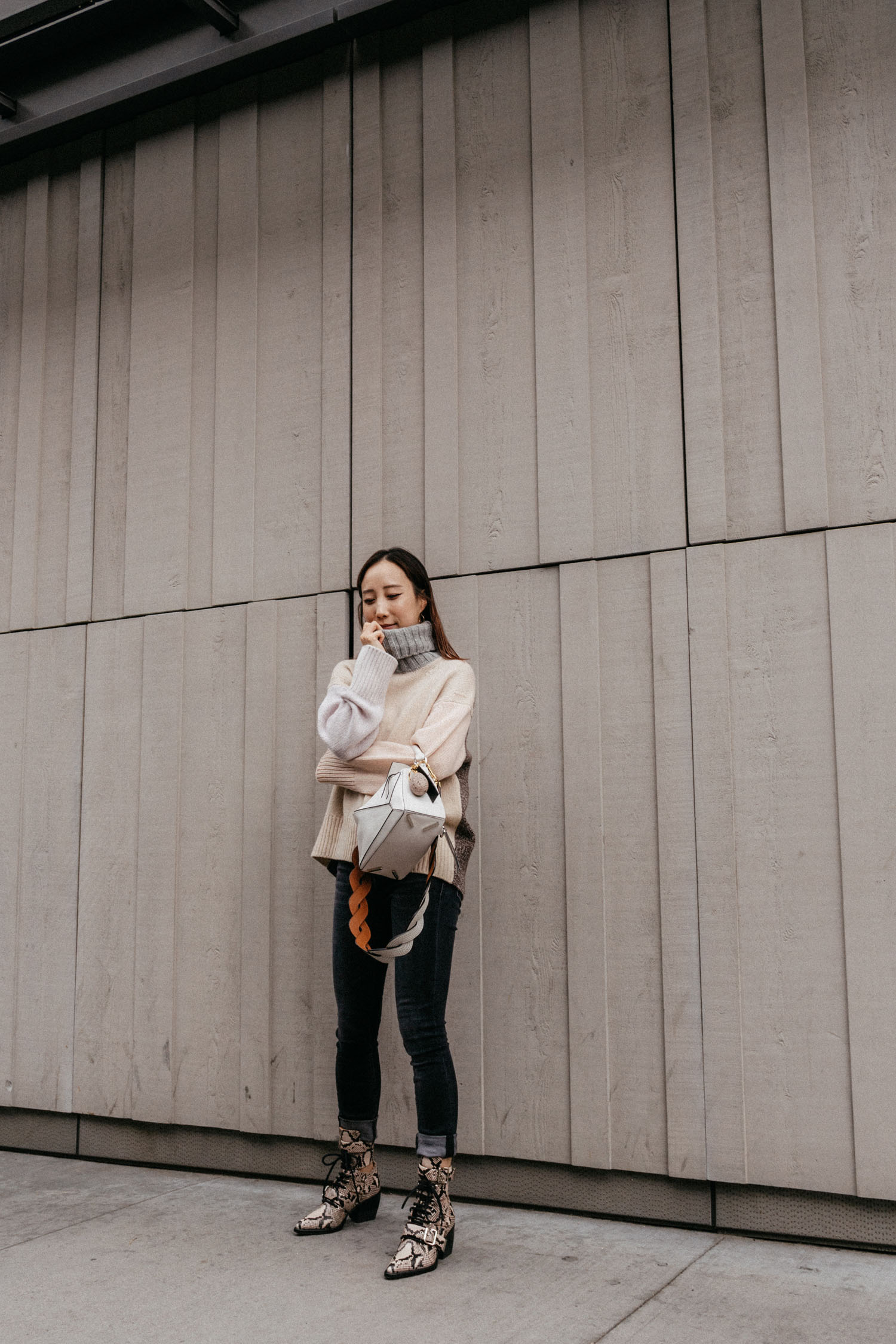 Tomorrowland Sweater ,  R13 Denim ,  Loewe Bag ,  Chloé Boots