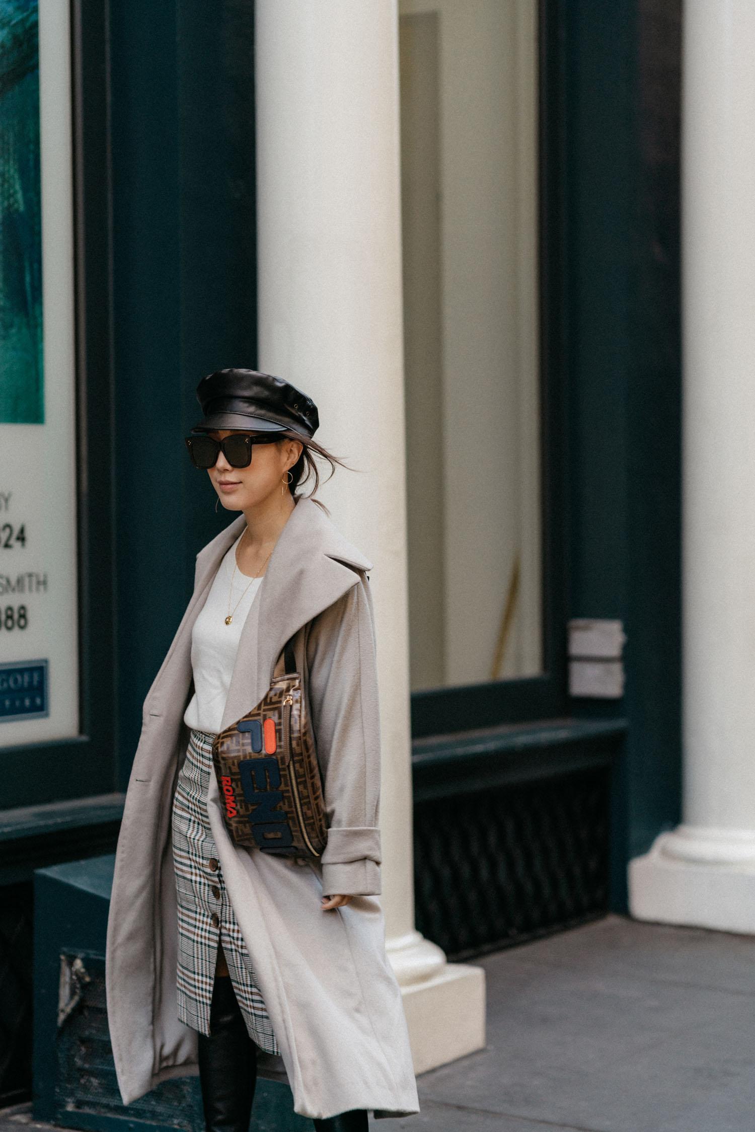 Michelle Waugh Coat , Vince Sweater,  Petite Studio Skirt ,  Fendi Bag