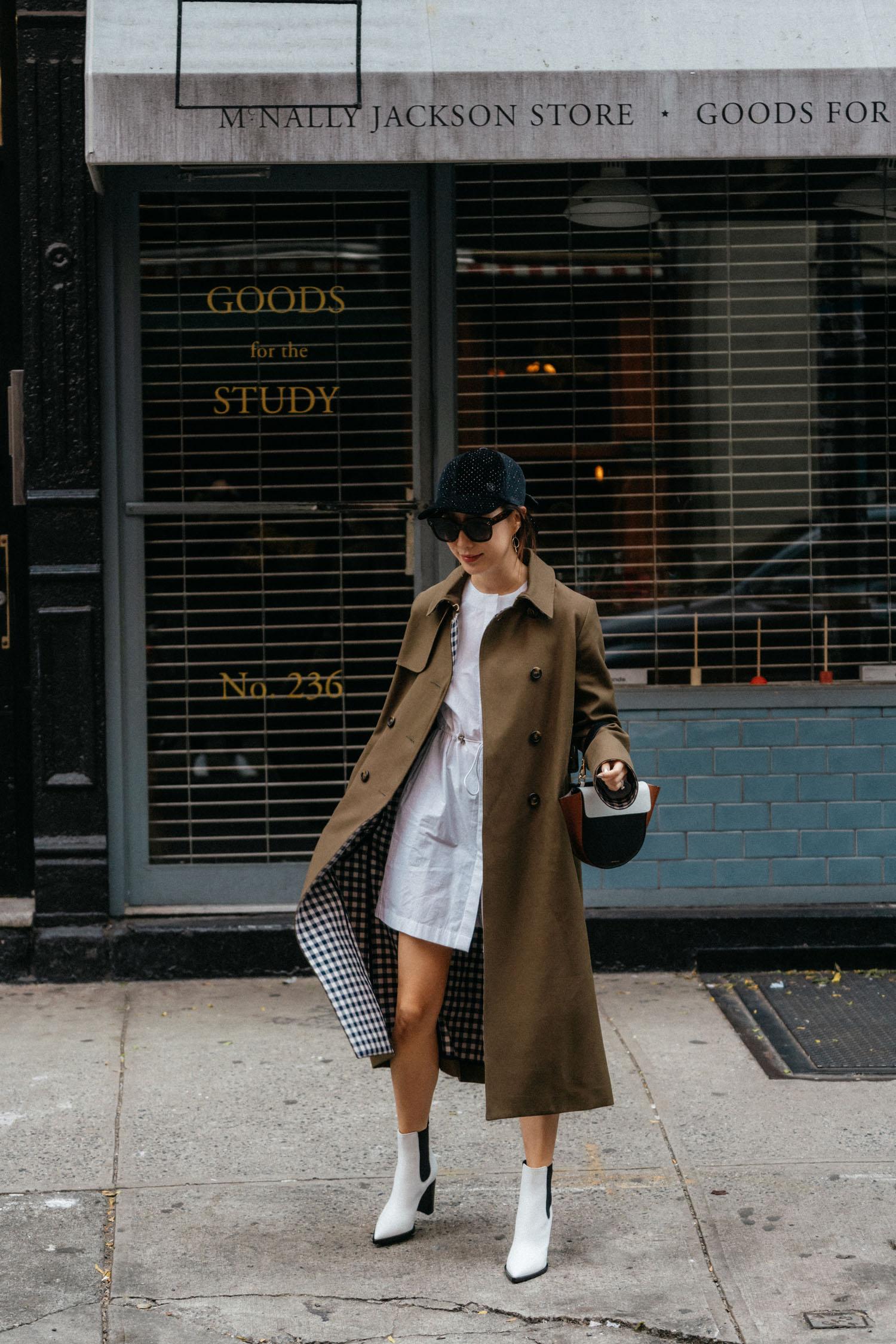 Tara Jarmon Jacket , Pause Dress,  Gianvito Rossi Boots , Wandler Bag, Maison Michel Hat, Céline Sunglasses