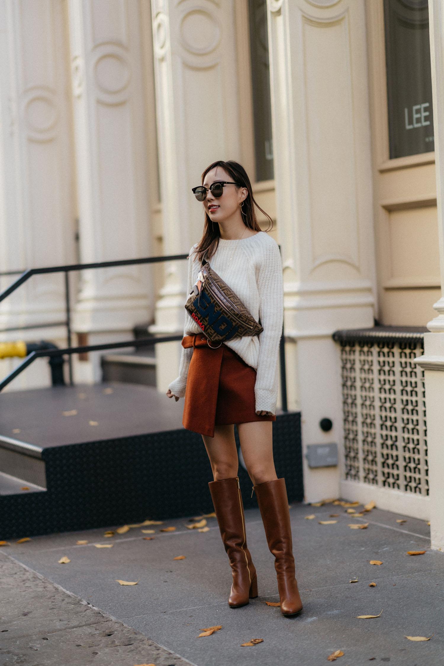 Nili Lotan Sweater, Petite Studio Skirt,  Dear Frances Boots , Fendi Bag, Gentle Monster Sunglasses,  Hirotaka Earrings