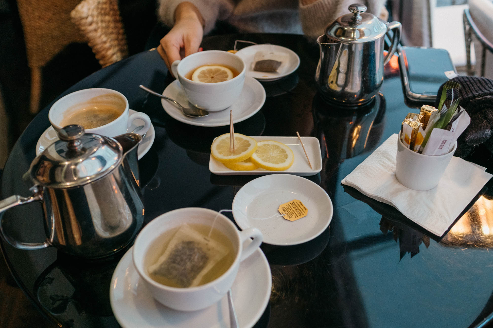 Warming up with tea at  L'Avenue