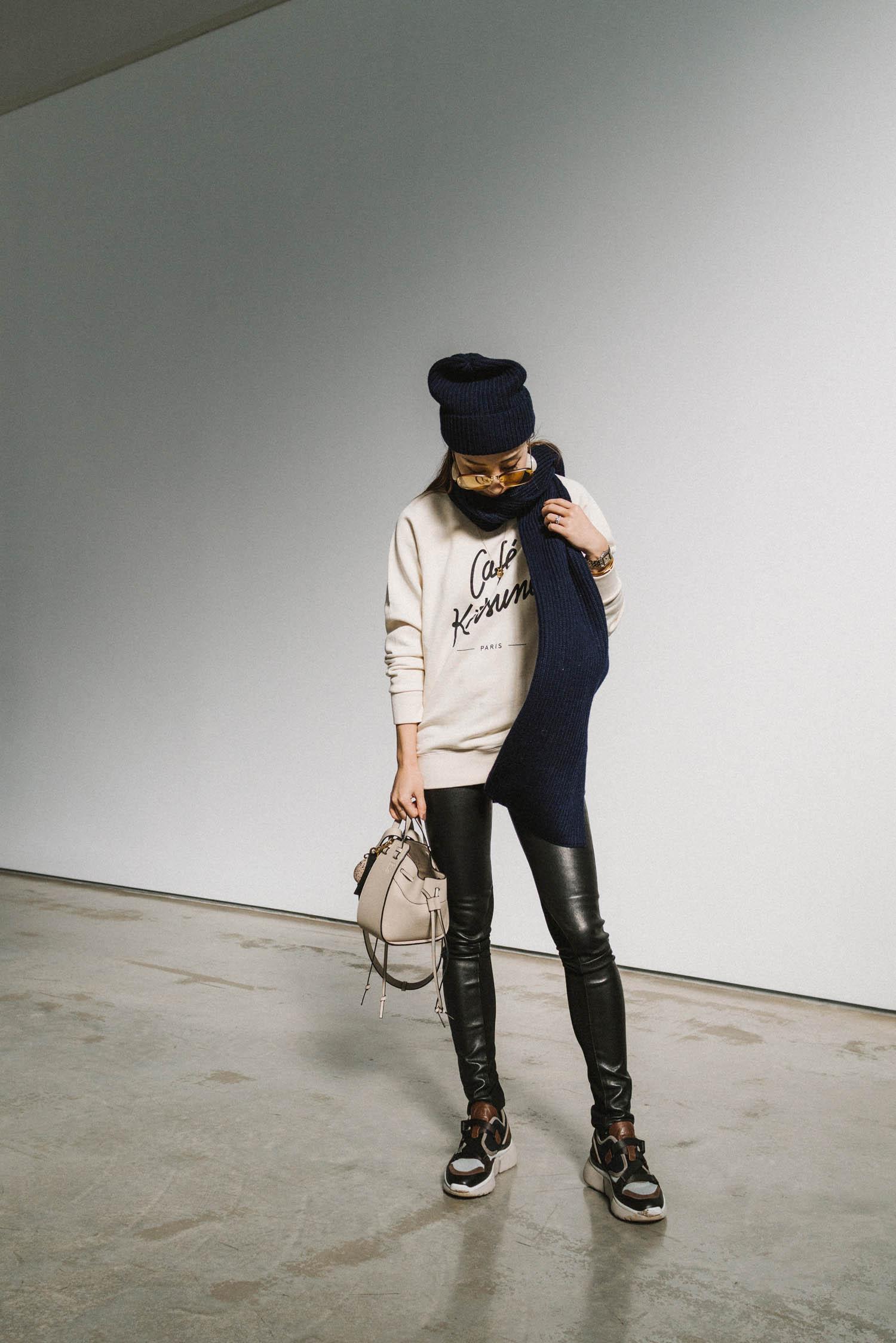 Maison Kitsuné Sweatshirt, Rag & Bone Pants,  Chloé Sneakers ,  Loewe Bag ,  Sézane Scarf and Beanie