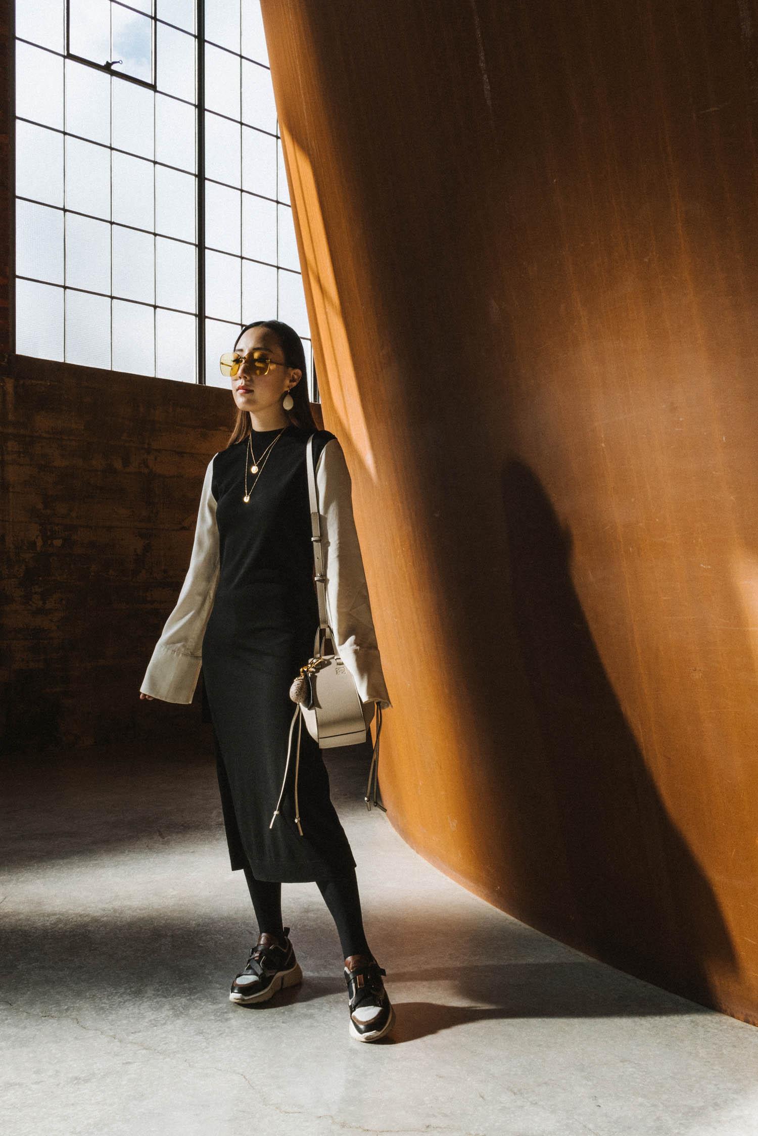 COS Dress ,  Chloé Sneakers ,  Loewe Bag ,  Simone Rocha Earrings ,  Louis Vuitton Necklace