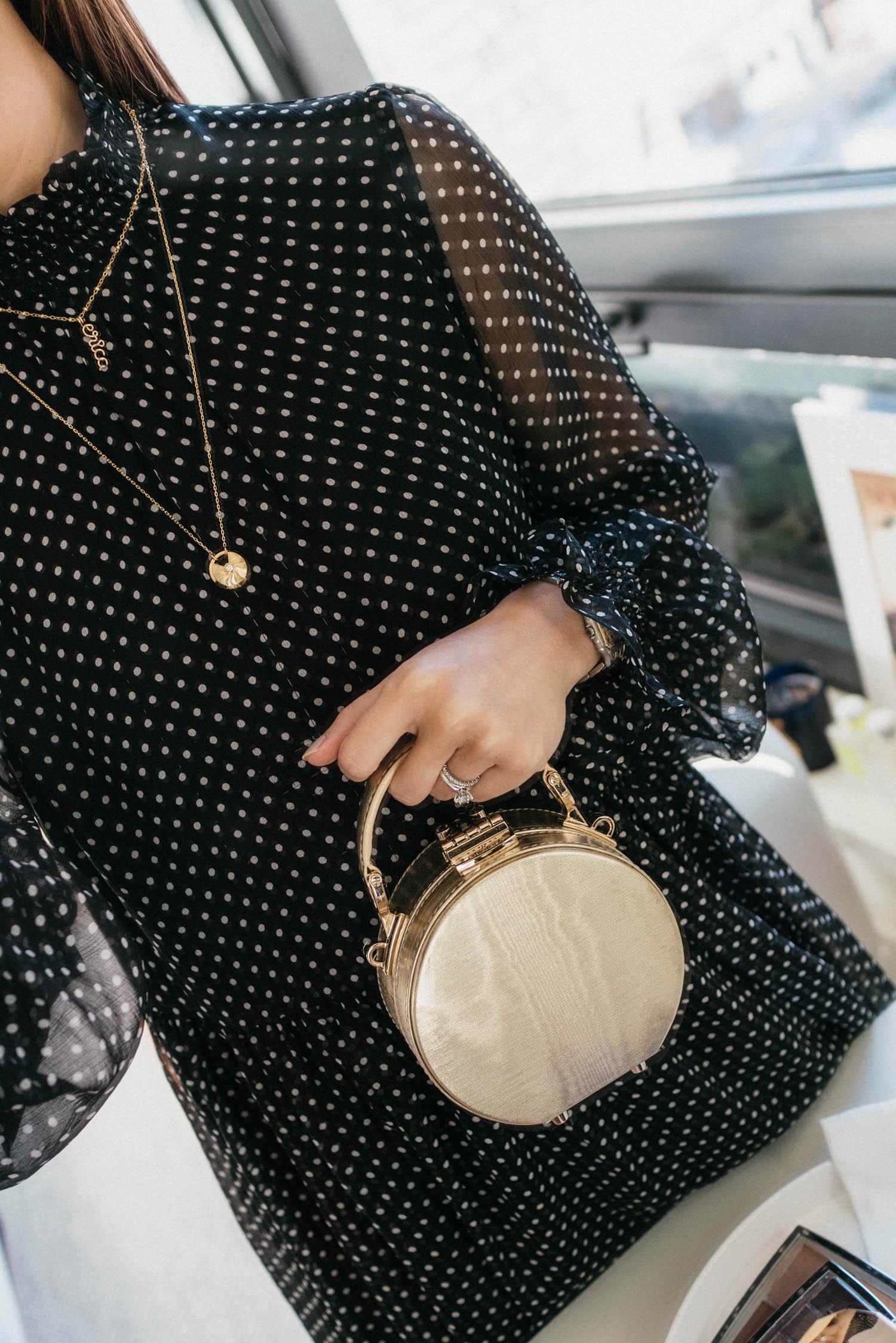 Sézane Dress ,  Aspinal of London Bag ,  Cartier Necklace ,  Atelier Paulin Necklace