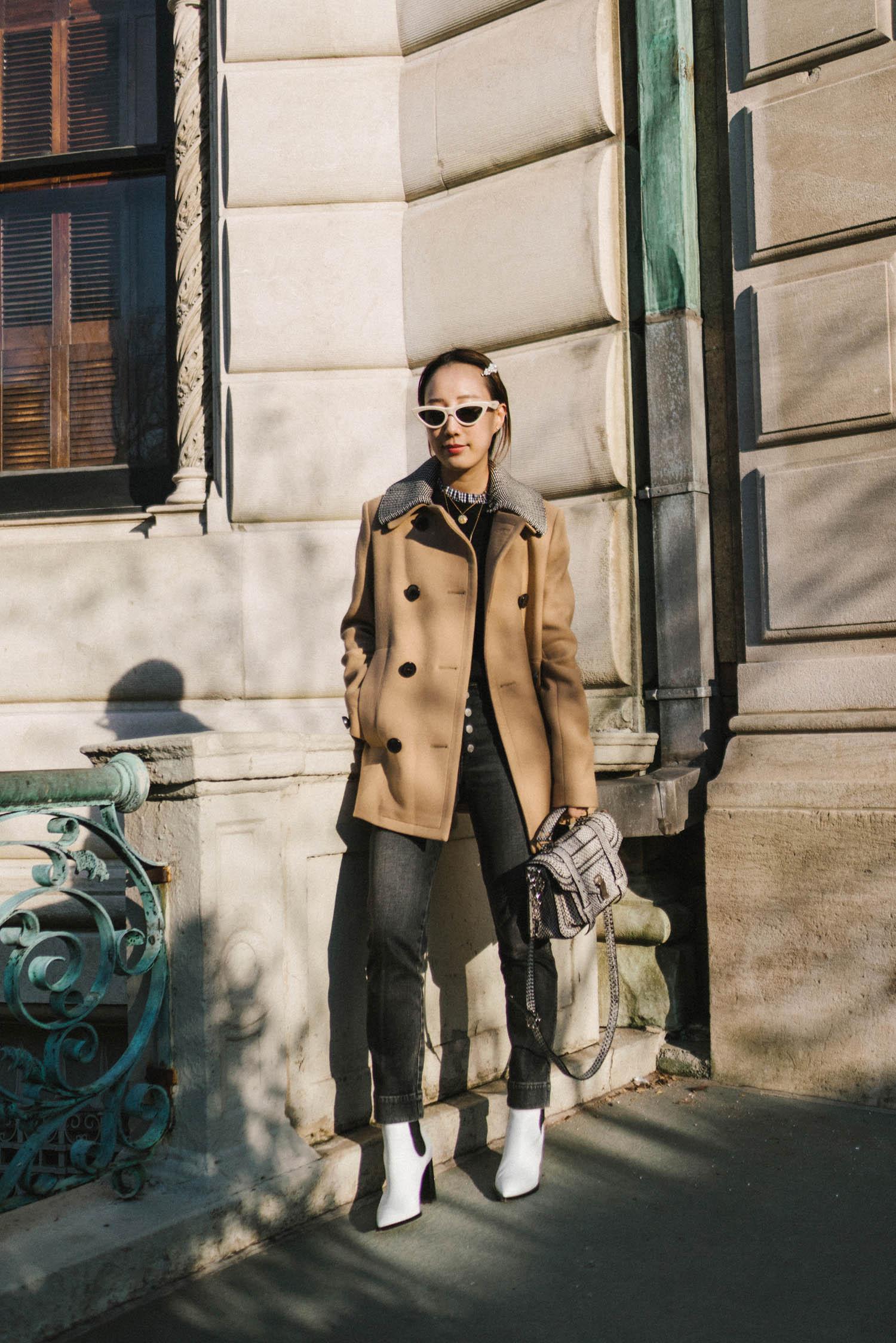 Proenza Schouler Coat,  Trave Denim , Proenza Schouler Bag,  Gianvito Rossi Boots ,  Celine Sunglasses , Simone Rocha Hair Clip