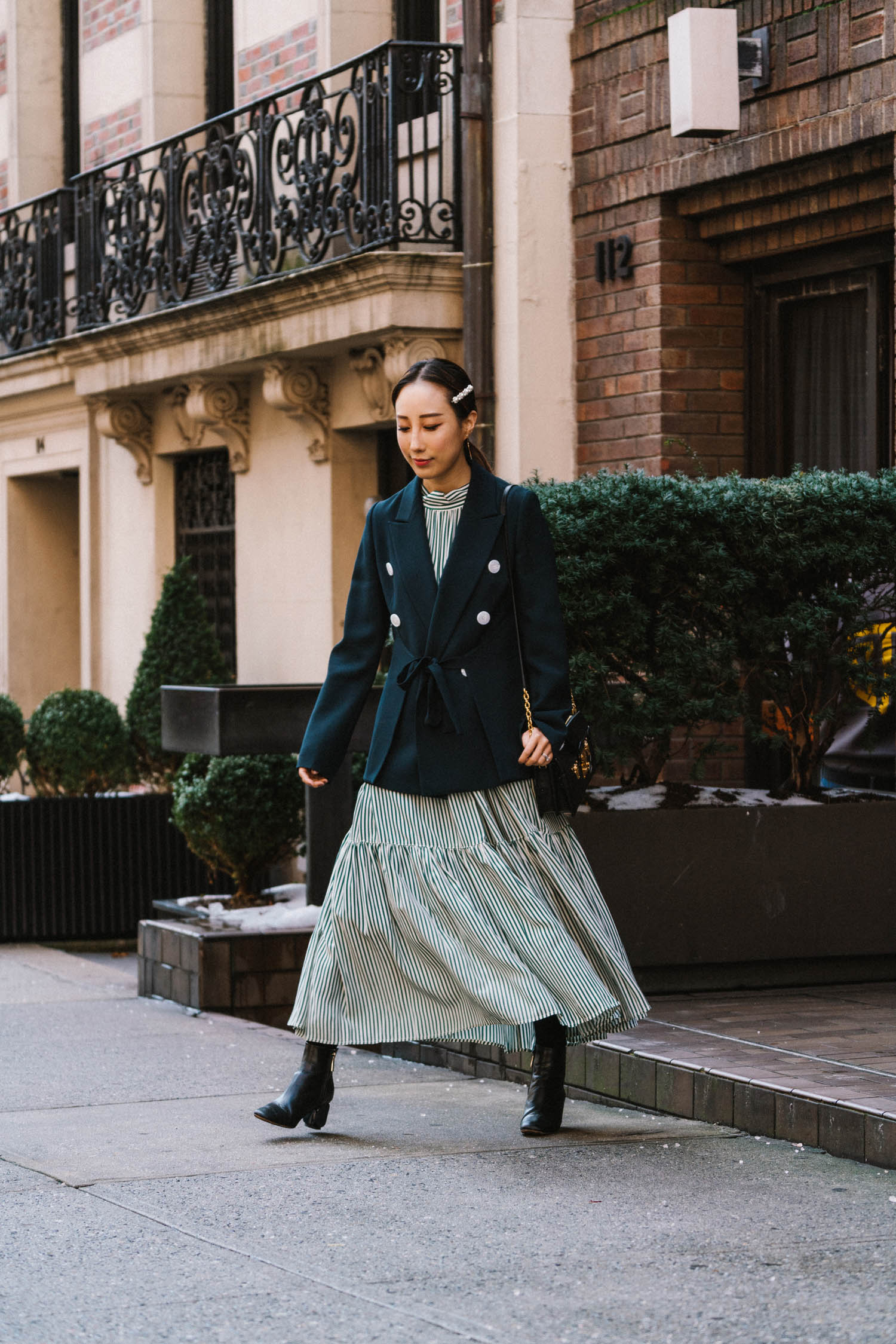 Lehho Blazer ,  Asceno Dress , The Row Boots, Louis Vuitton Bag