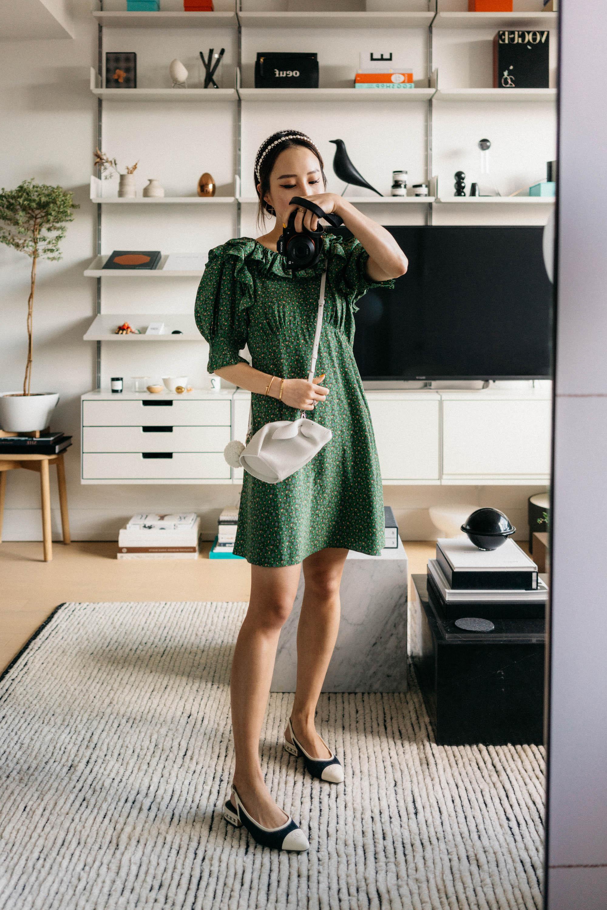 DÔEN Dress , CHANEL Shoes, Loewe Bag,  Miu Miu Headband