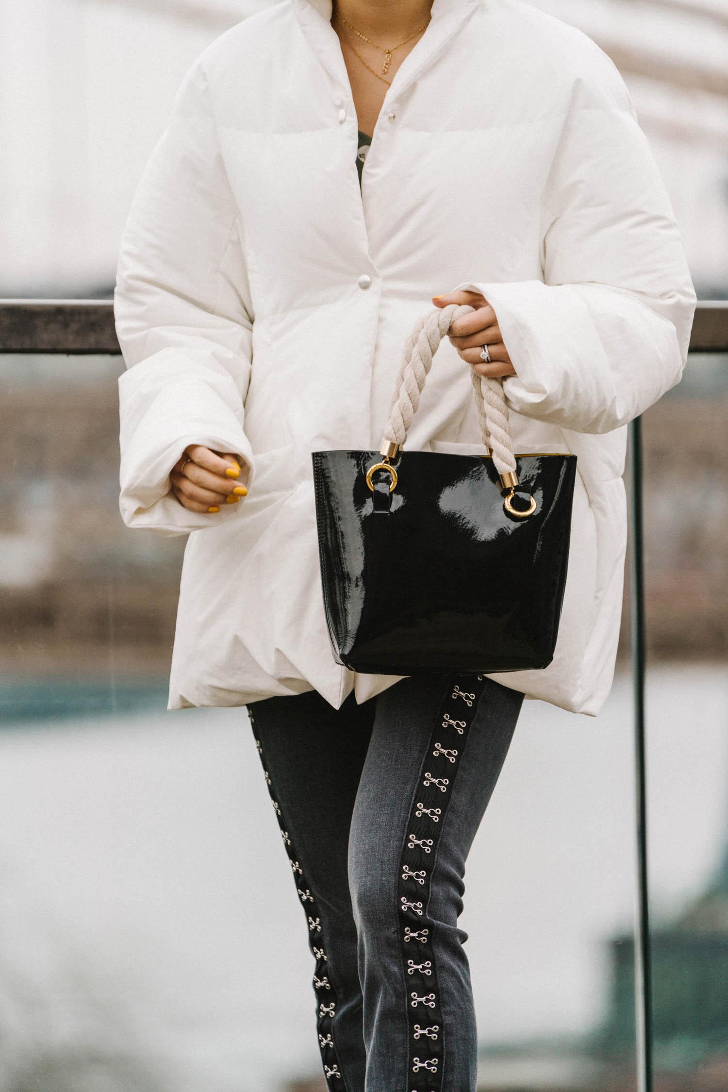 Jil Sander Coat ,  Petite Studio Top ,  3x1 Denim ,  Janis Studios Bag , Louis Vuitton Necklace, Atelier Paulin Necklace, WWAKE Earrings