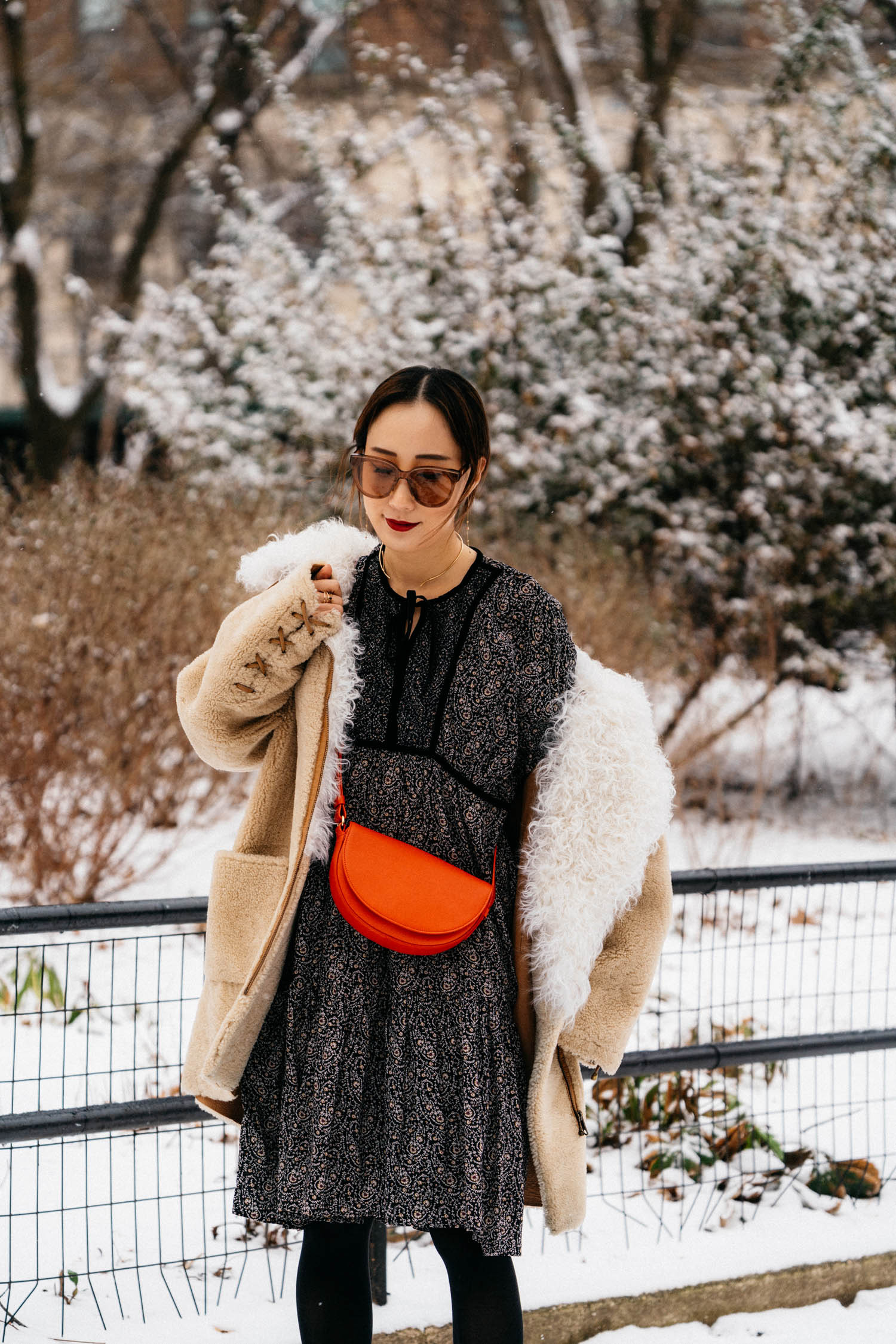 Ulla Johnson Coat, DÔEN Dress,  Cuyana Bag , Gentle Monster Sunglasses