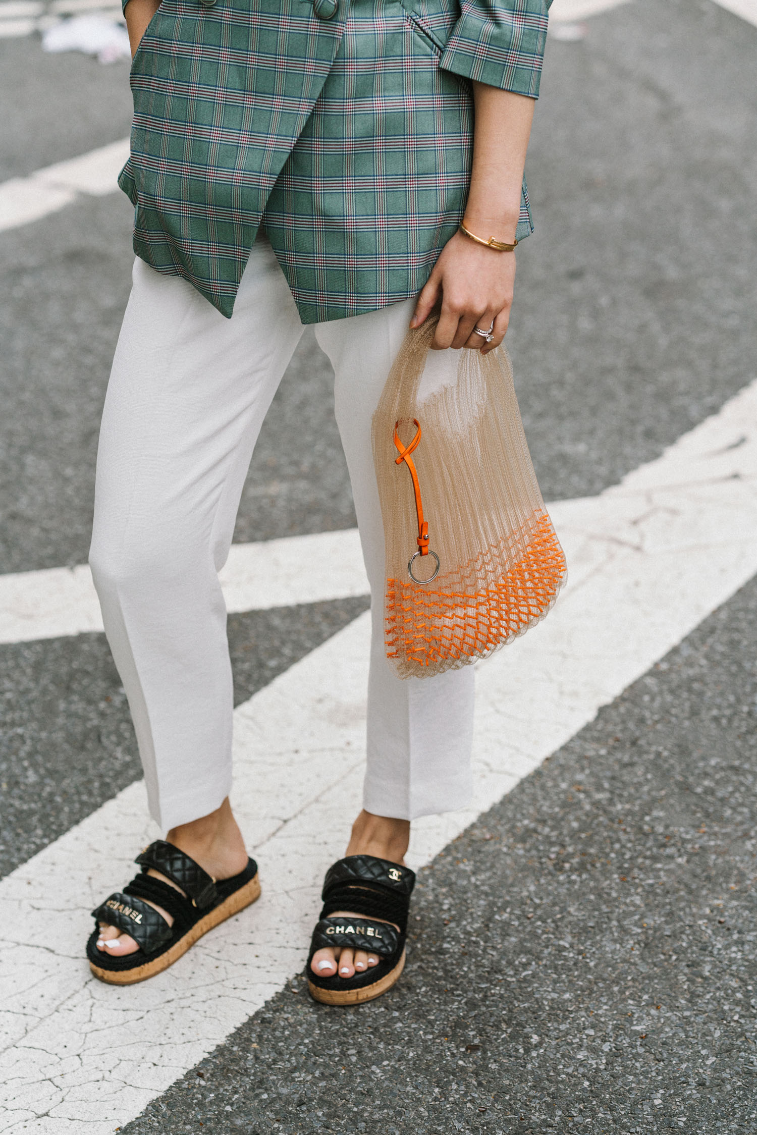 LIE Collection Blazer , Sézane Pants, CHANEL Sandals,  Jil Sander Bag , Céline Sunglasses