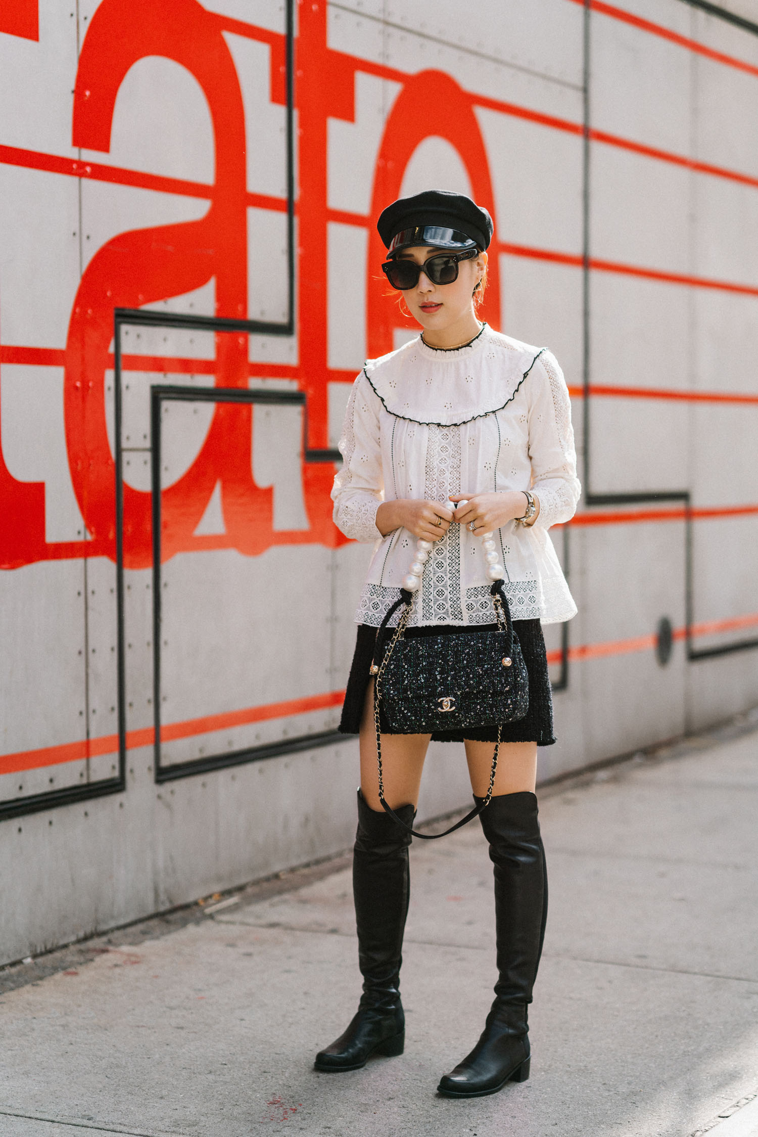 Sézane Top ,  Alexander Wang Skirt ,  Stuart Weitzman Boots , CHANEL Bag, Gucci Hat