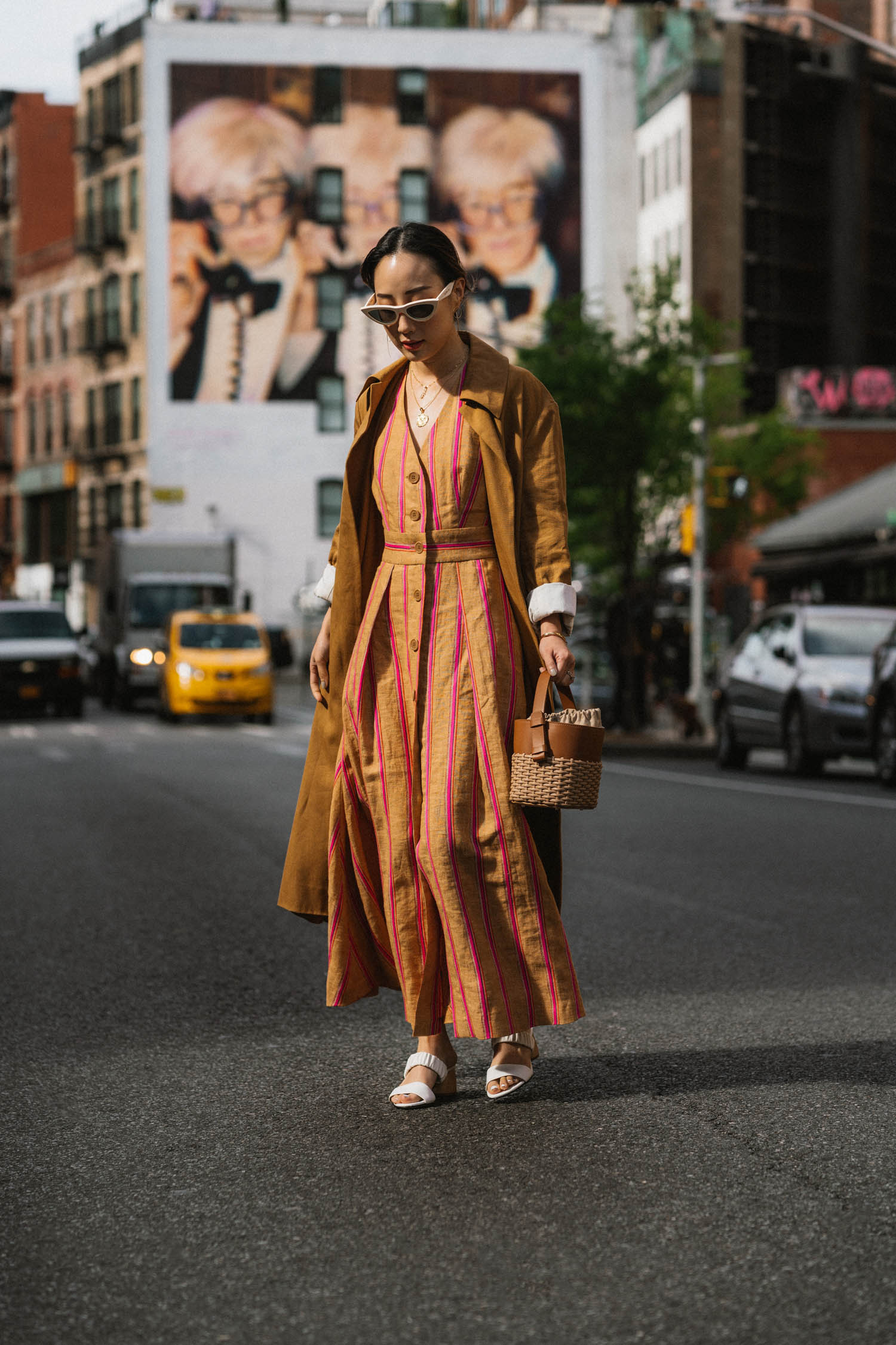 The Row Jacket,  Tara Jarmon Dress ,  Dear Frances Shoes ,  Nico Giani Bag , Celine Sunglasses,  Azlee Necklace