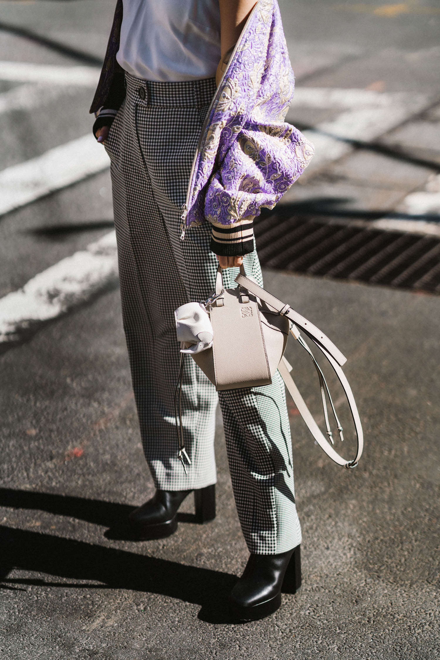 Dries Van Noten Jacket, Frame Top,  Tara Jarmon Pants , Alexander Wang Boots,  Loewe Bag  and Keychain, Celine Sunglasses