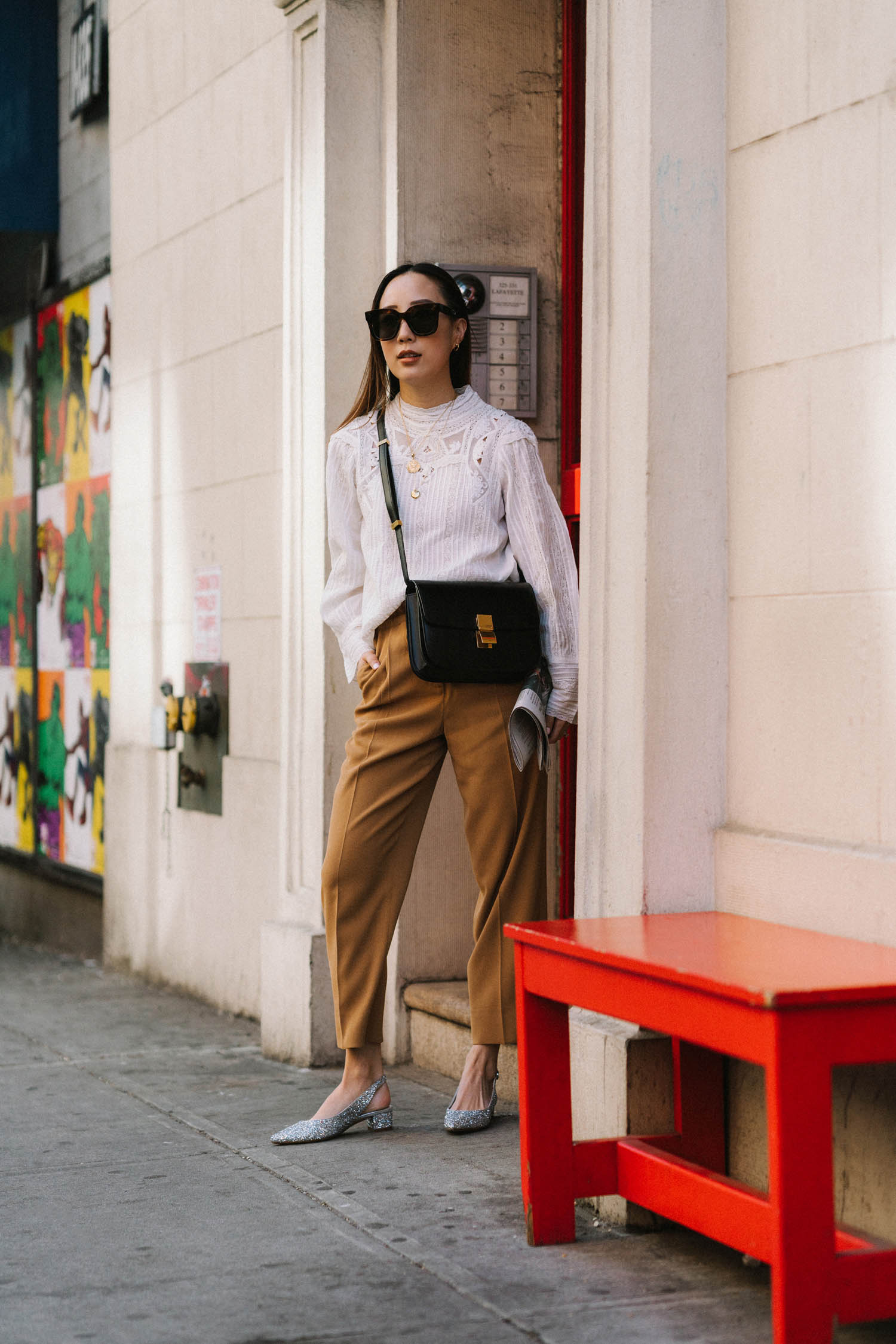 SEA New York Top ,  Aritzia Pants , Mansur Gavriel Shoes, Celine Bag, Celine Sunglasses