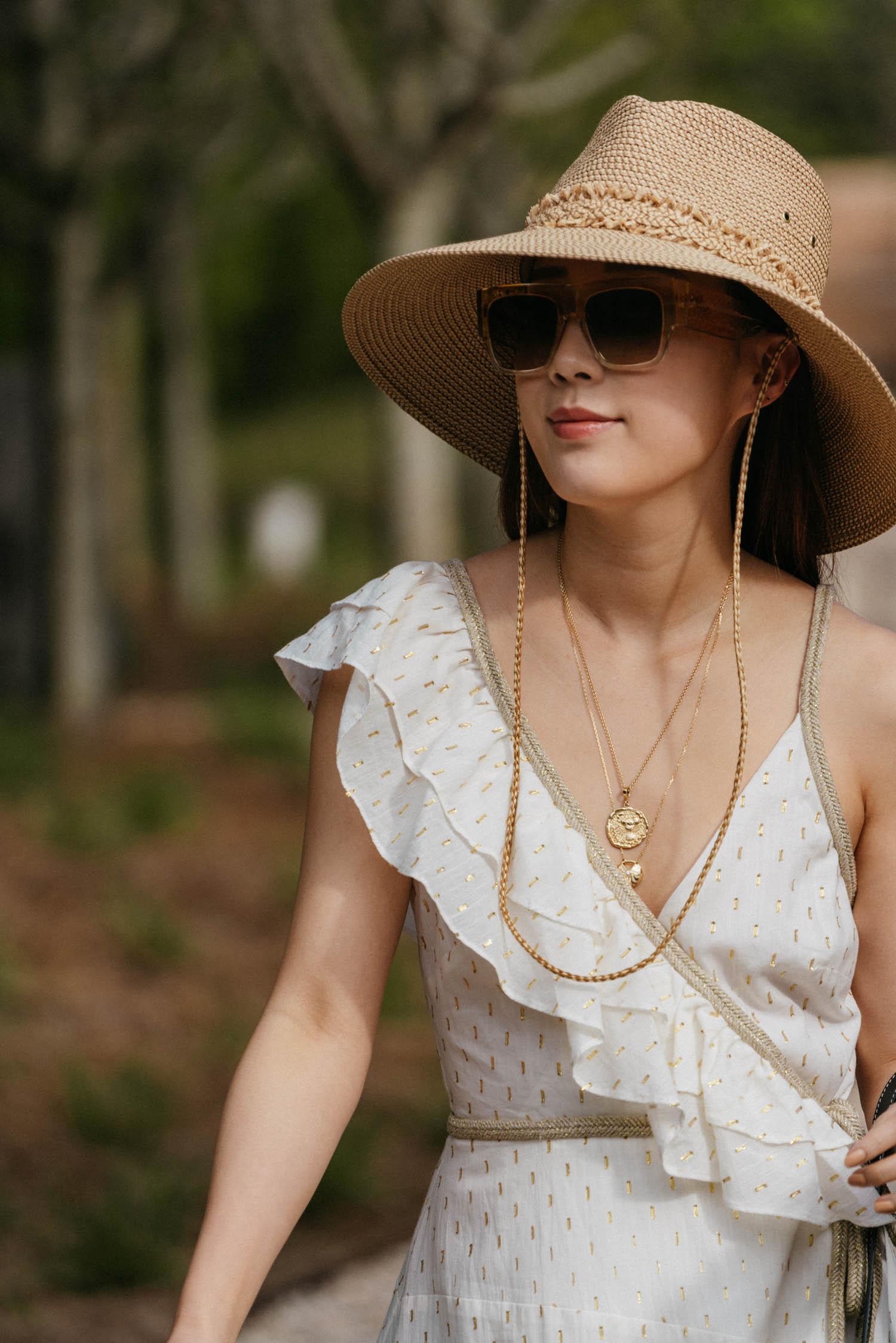 BCBG Dress ,  Loewe Bag ,  Dear Frances Sandals , Eric Javits Hat, Celine Sunglasses,  Azlee Necklace