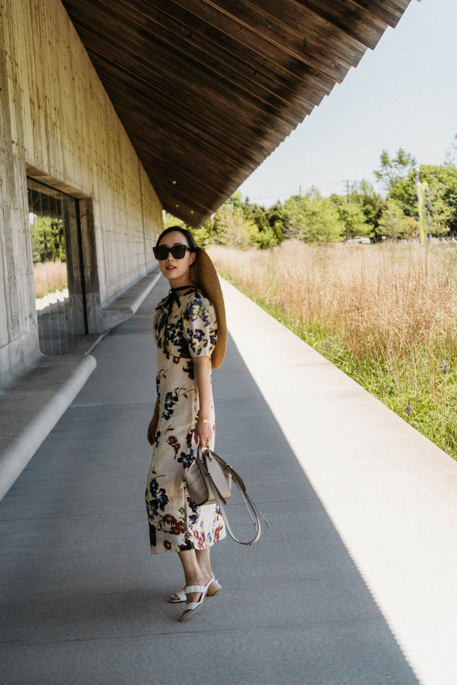 SEA New York Dress ,  Dear Frances Sandals ,  Loewe Bag ,  Jacquemus Hat , Celine Sunglasses