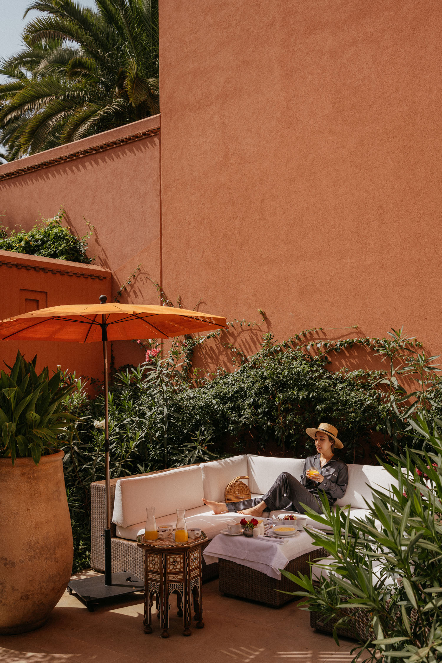 Breakfast in the courtyard of our riad one morning