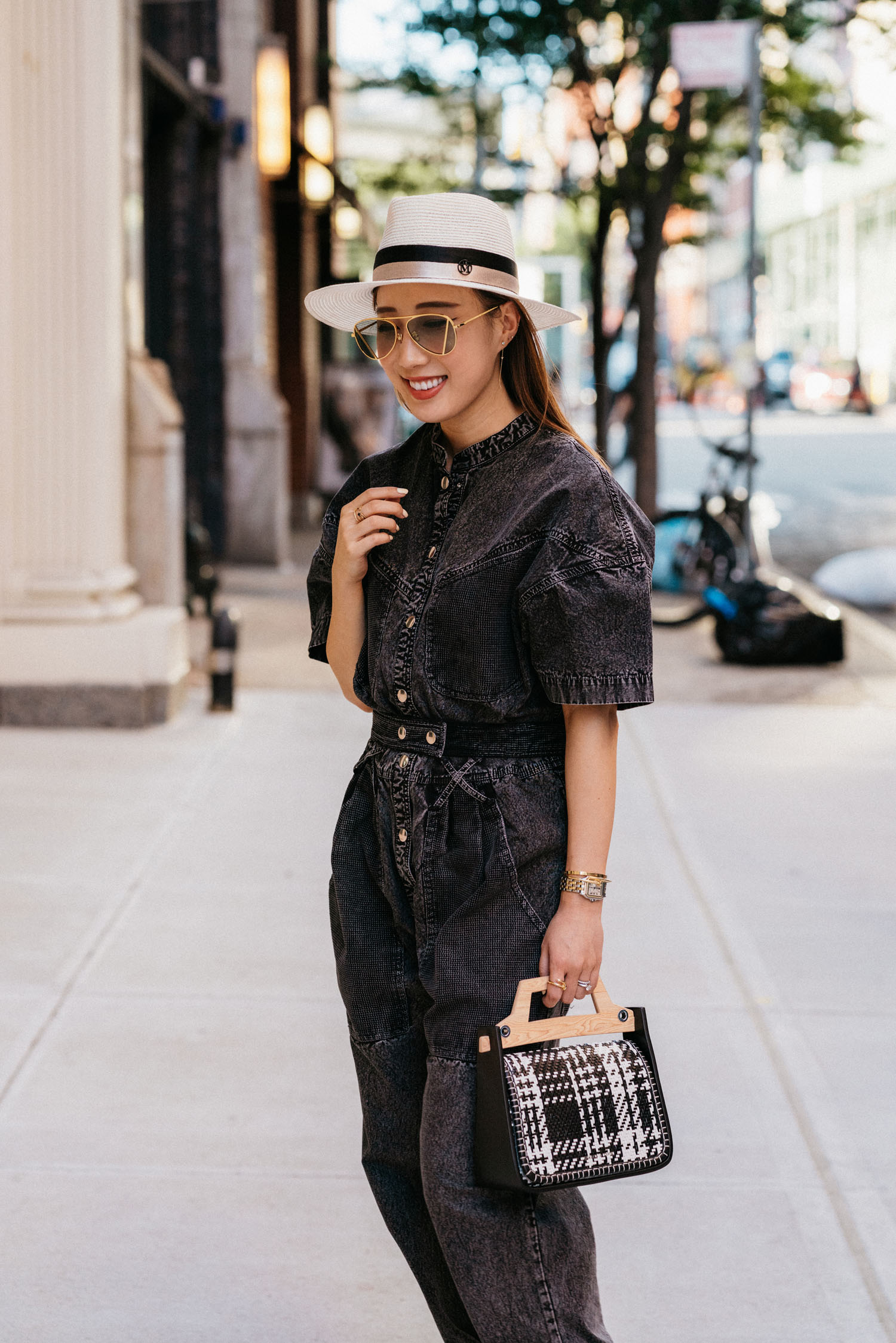 Isabel Marant Jumpsuit, Charles & Keith Bag, Charles & Keith Shoes, Maison Michel Hat, Charles & Keith Sunglasses