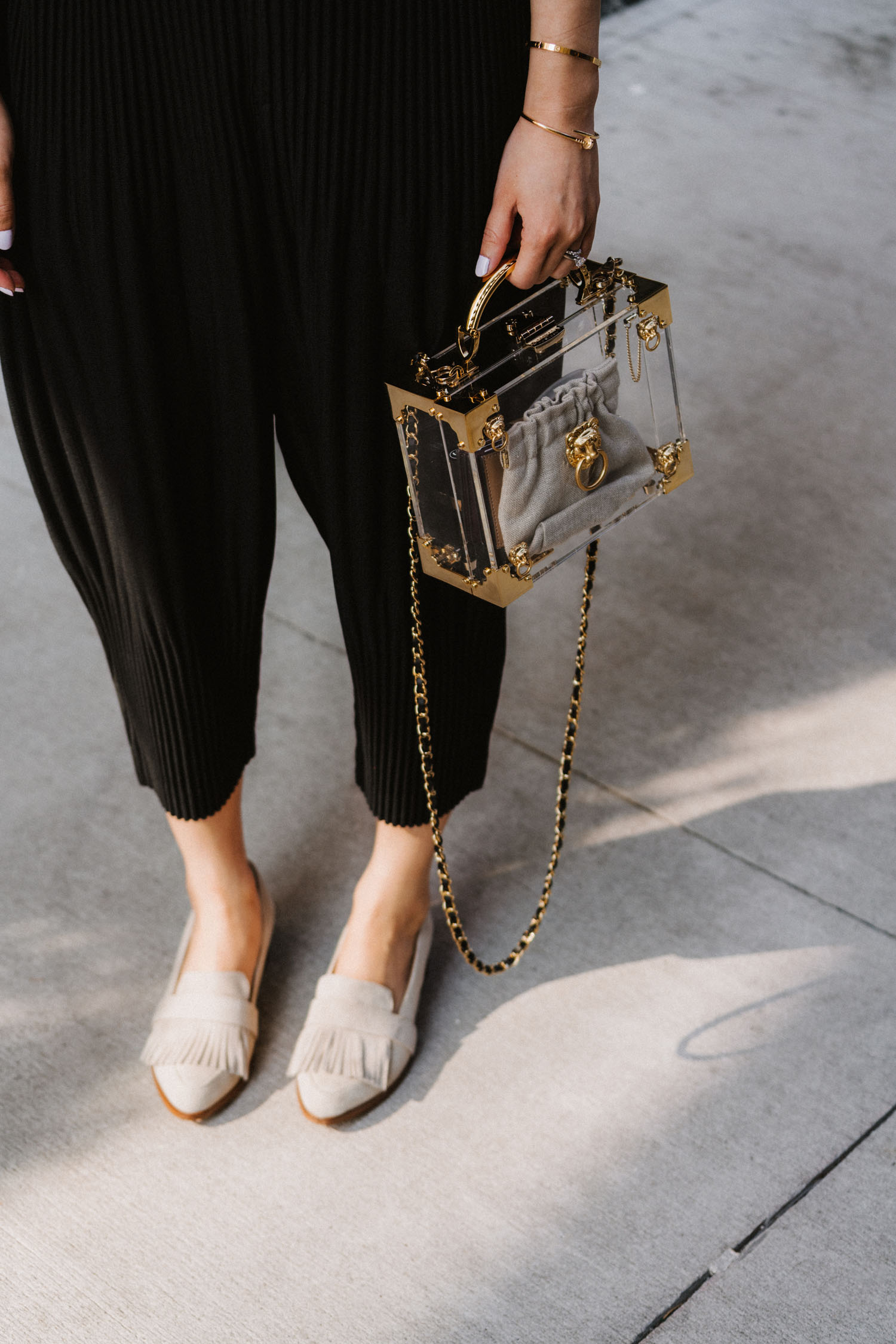 Eye To Eye Top , Issey Miyake Pants,  Thelma Loafers ,  Aspinal of London Bag , Aspinal of London Sunglasses, Janessa Leone Hat
