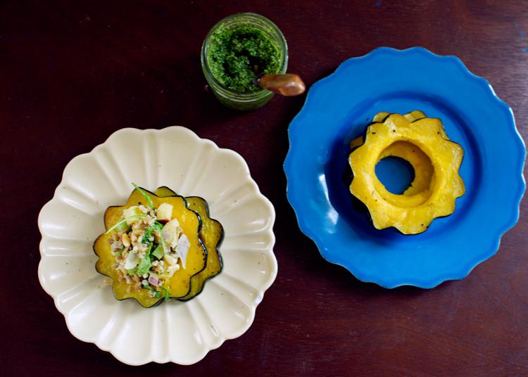 basil-pesto-farro-roasted-acorn-squash