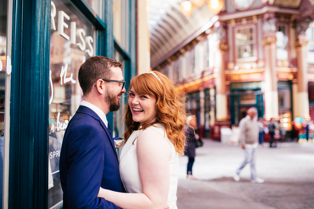 Amy and Garry on their wedding day at Leadenhall Market.