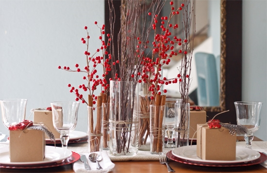 christmas table give away red berries sticks table runner.jpg