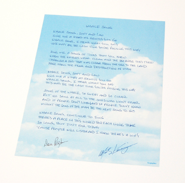 """Whale Song"" hand-written lyrics. Written by Marty Kaniger and signed by Marty Kaniger and Dan Peyton."