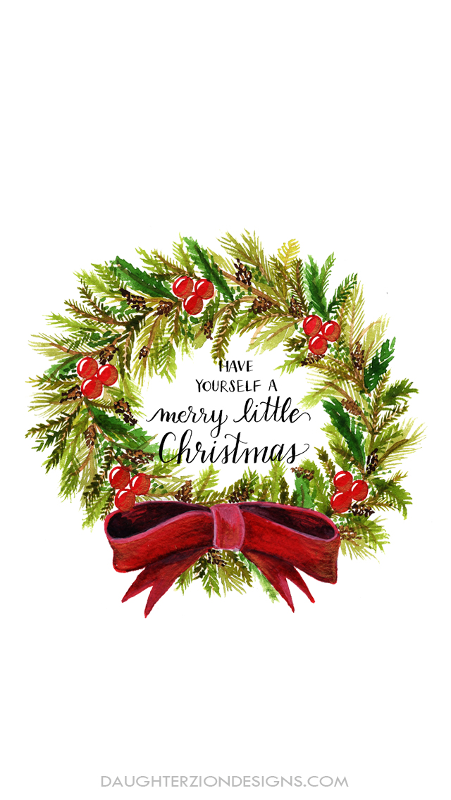 merry christmas wreath phone