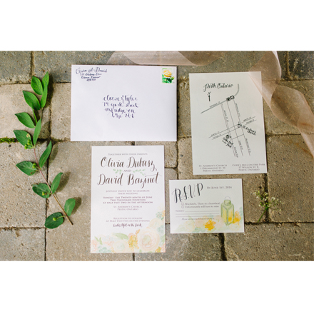 A Rustic Garden Wedding Invite Suite for Olivia and David