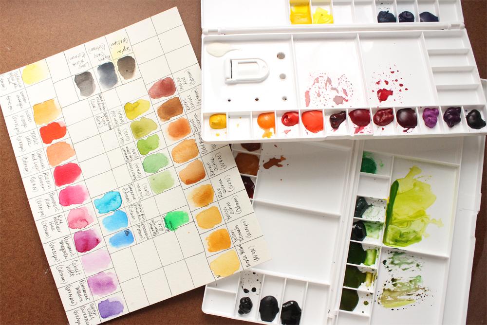 watercolour palette paint swatch