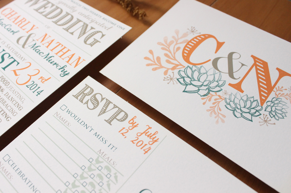 succulent wedding invite suite