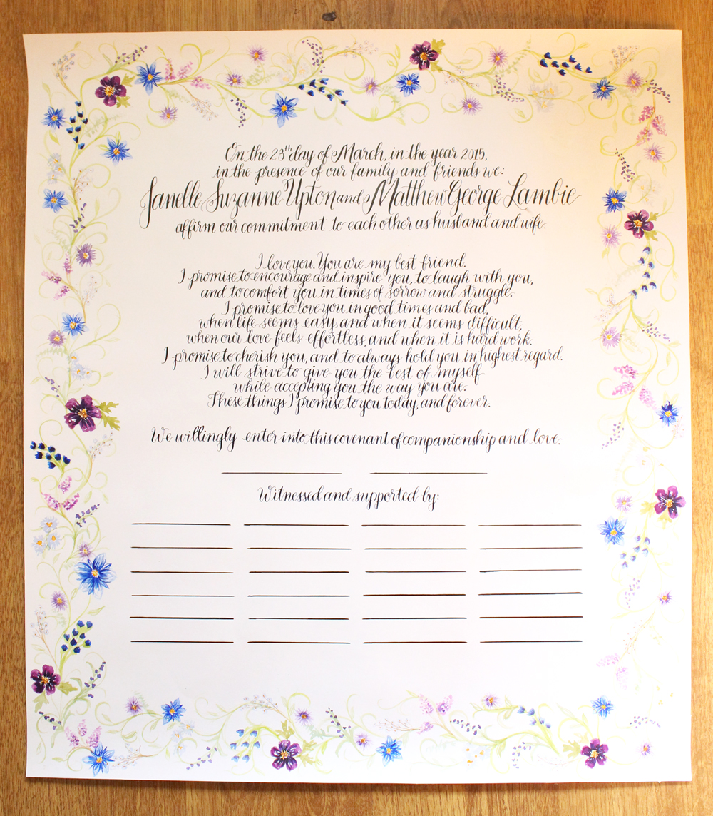 floral wedding vows ketubah by Daughter Zion Designs