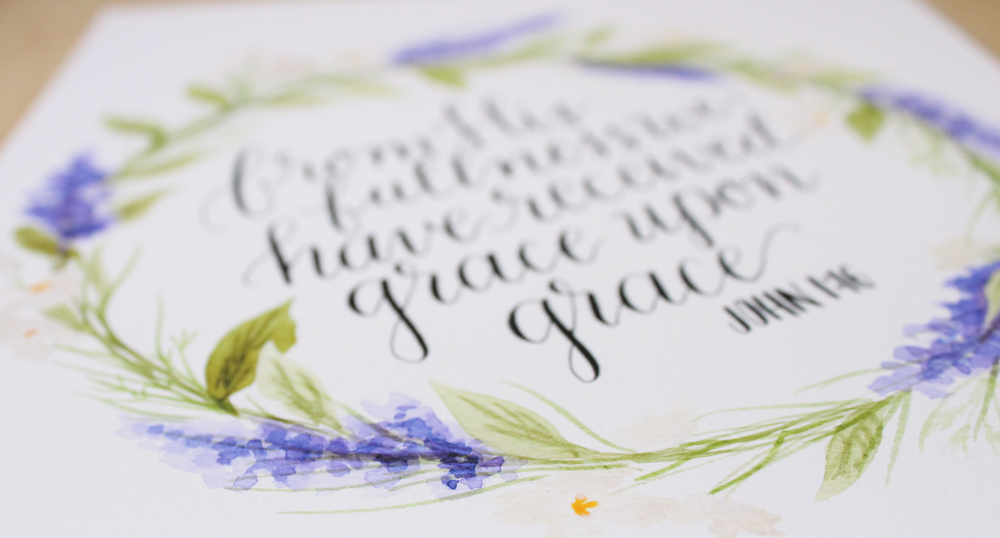 grace upon grace john 1:16 floral wreath by Daughter Zion Designs