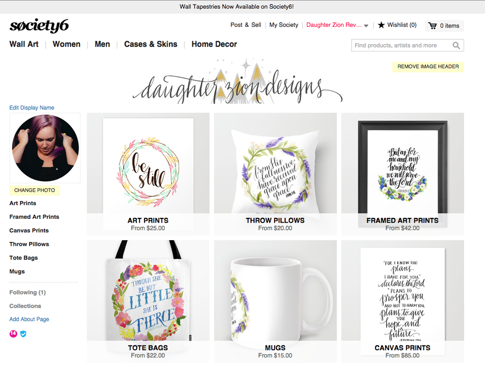 society 6 X daughter zion designs