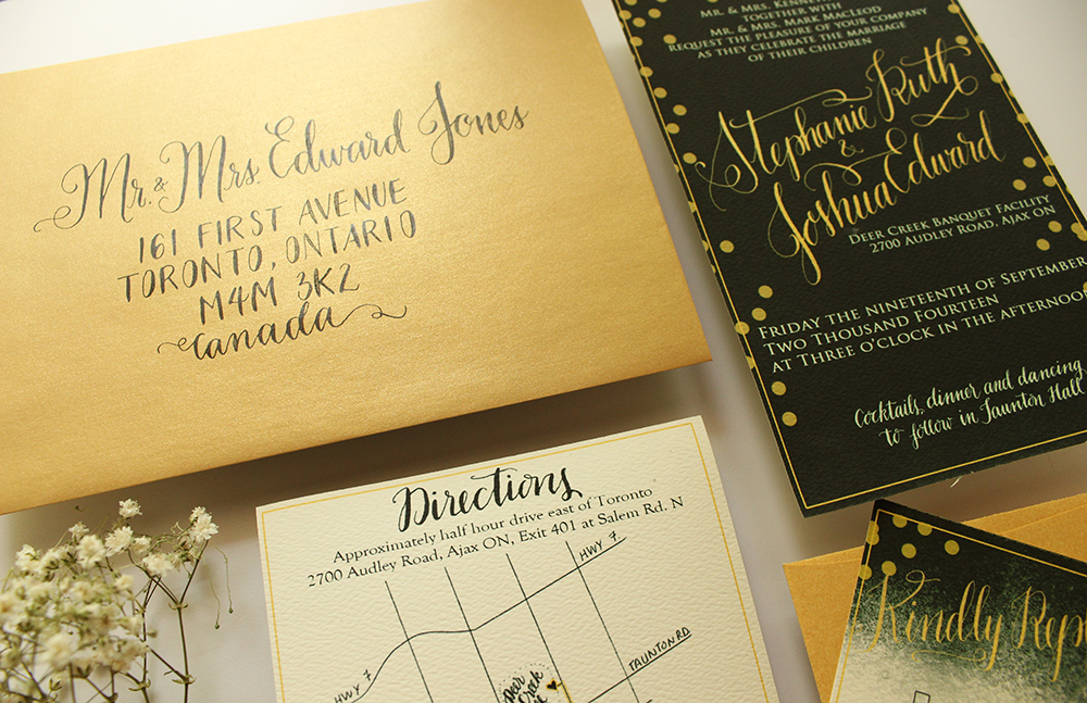 Invitation Suite - Green and Gold - A MacLeod Wedding - by Daughter Zion Designs