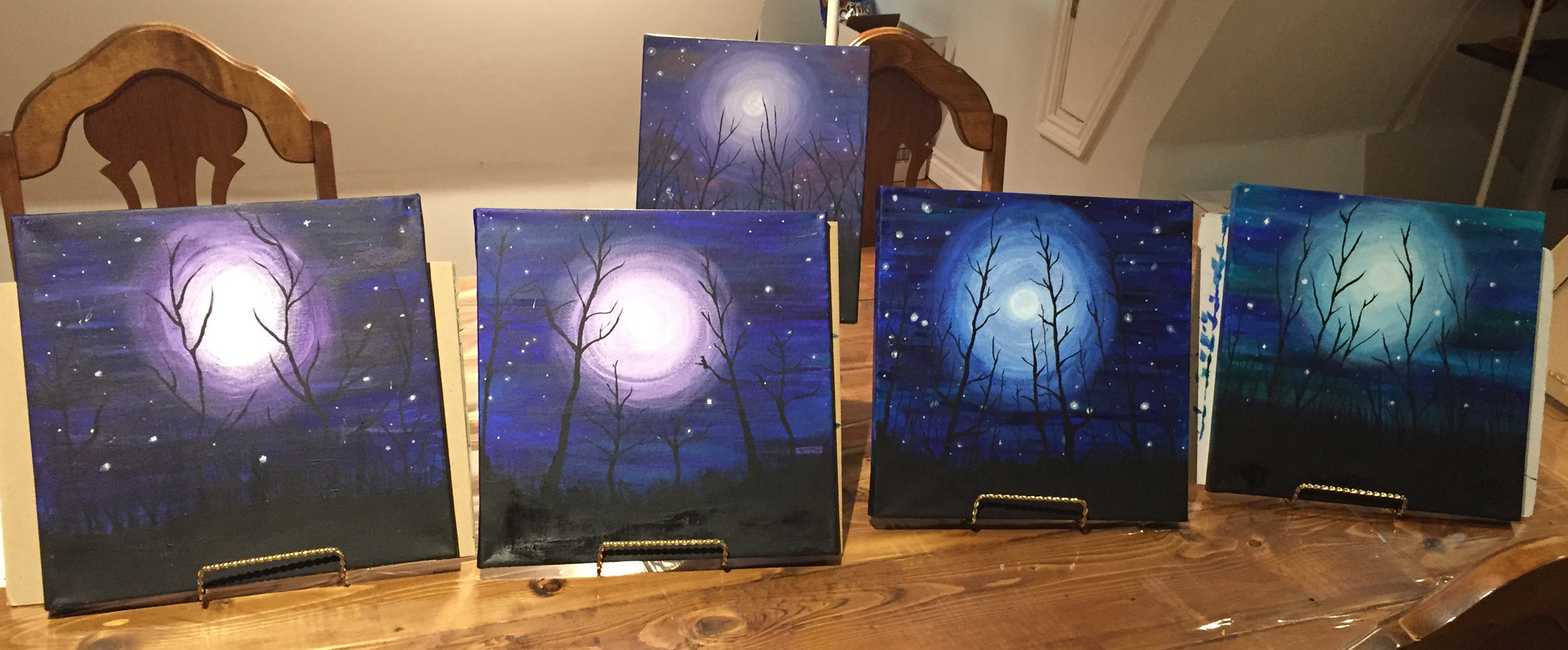 Student paintings - Winter Forest Night Sky