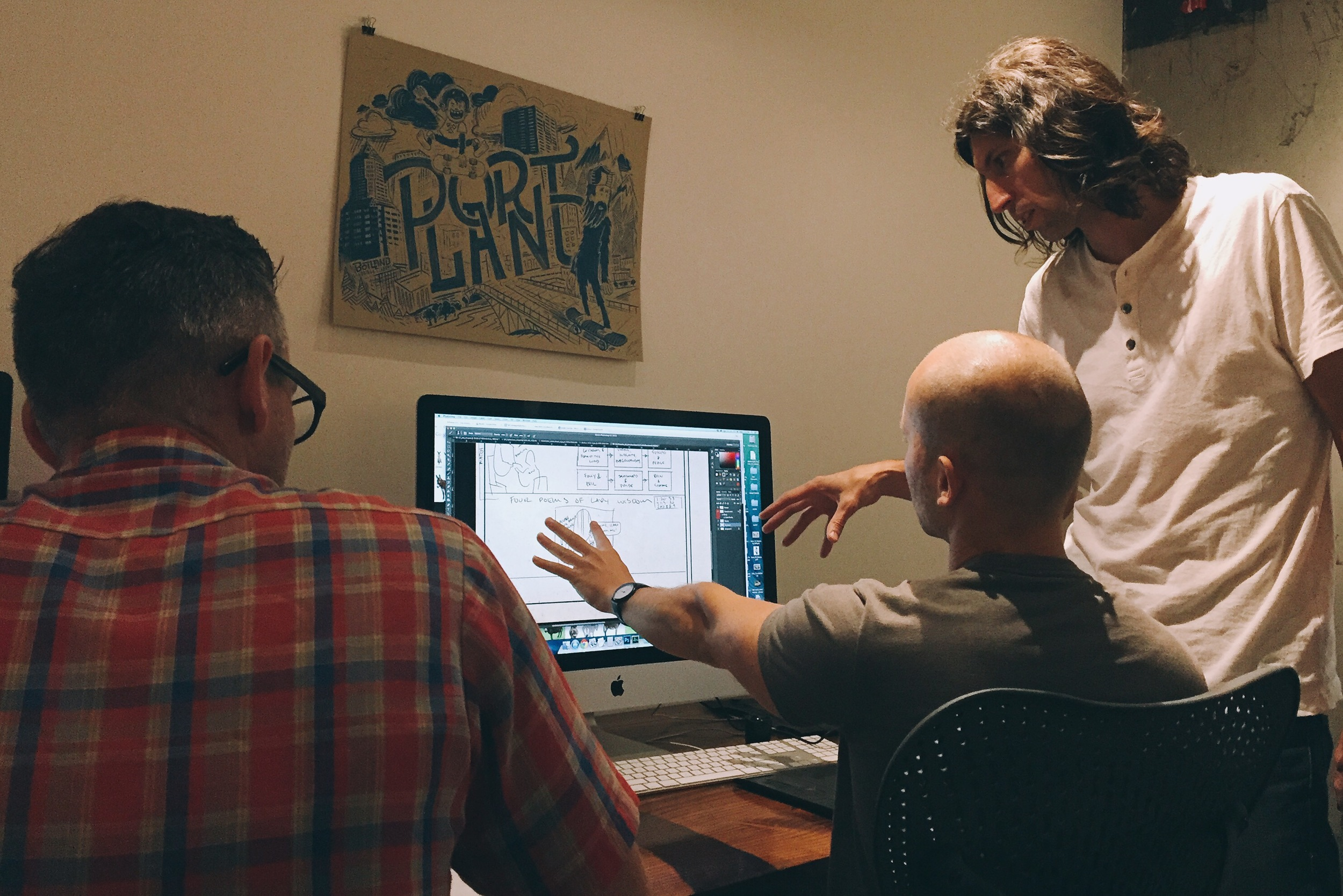 Tim and Jon now bring the video's outline to Mac, who does a rough sketch before polishing it up and sending it to the animators.