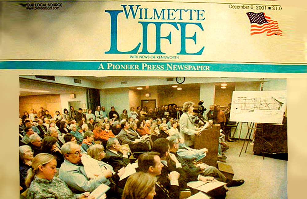 (2001 - 2005)  Beth Beucher, representing the group Mixed Use for Mallinckrodt, speaks during a meeting with city and Loyola University officials on Tuesday. Wilmette Life, December 6, 2001