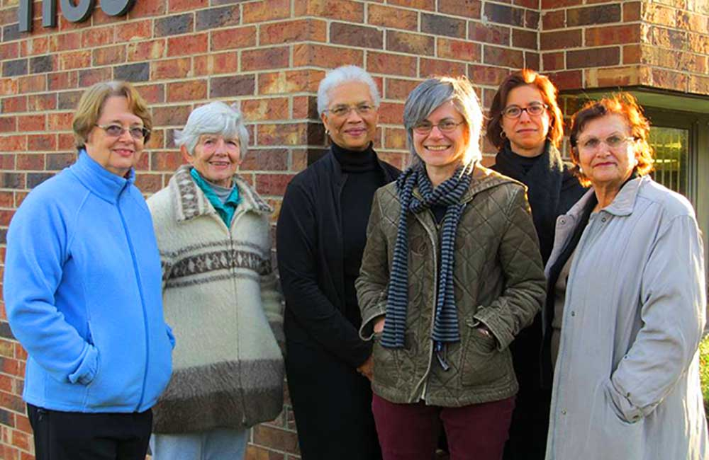(2013 - Present)  Members of Wilmette Cares in front of Gates Manor. From left to right: Ann Jonaitis, Betty Phillips, Lorelei McClure, Gail Schechter, Lisa Braganca, Puran Stevens