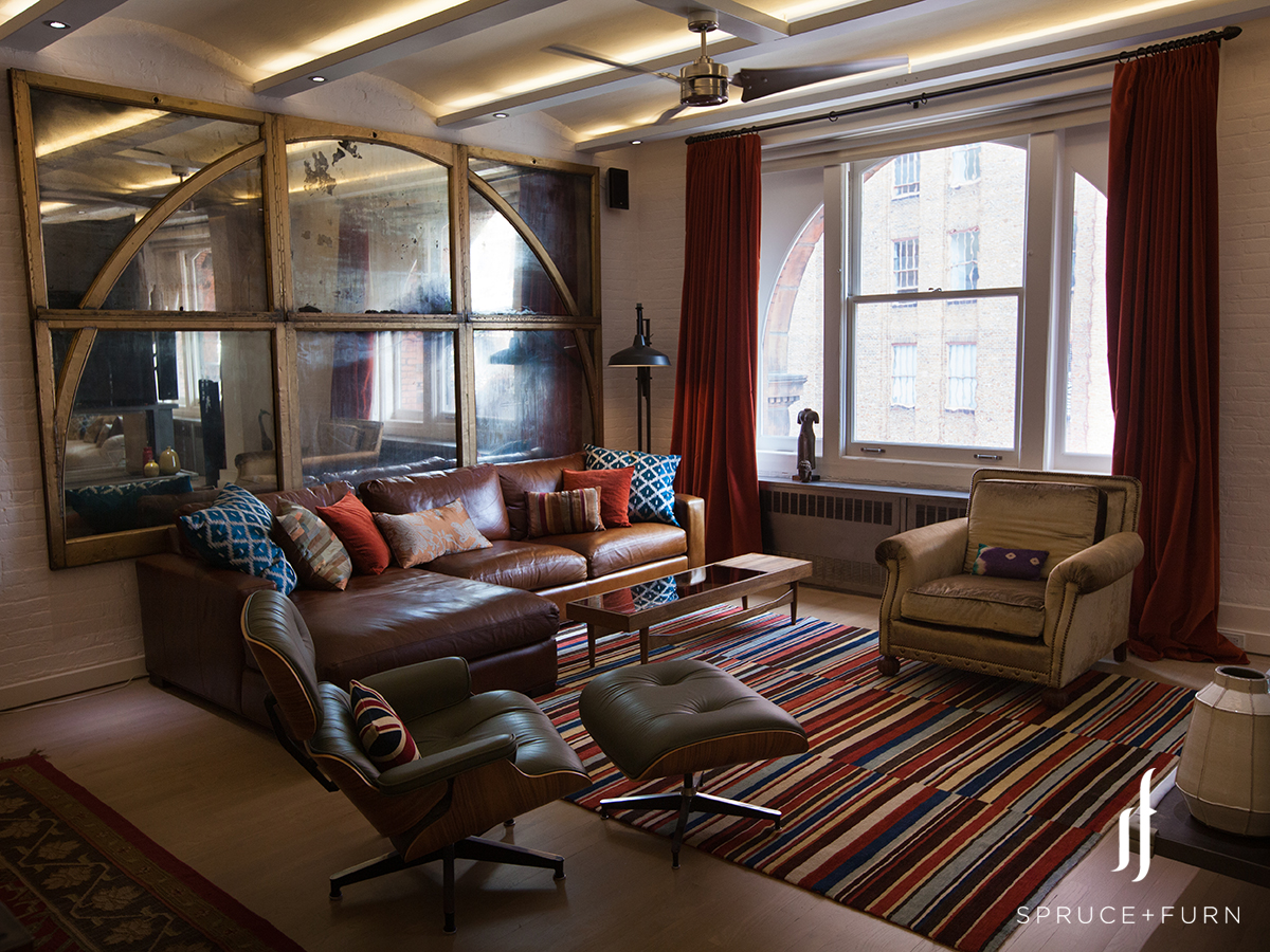 In this open Tribeca loft, each area is designated by a unique rug that lets you know when you're transitioning into a new zone.    Photocredit: Steph Goralnick www.sgoralnick.com