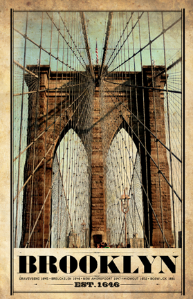 Brooklyn Bridge Vintage Print. Image Source: I Lost My Dog