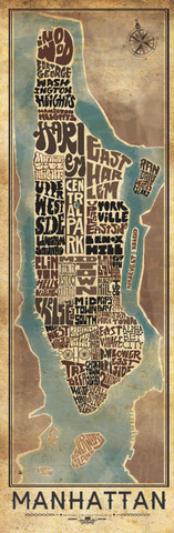 Manhattan Typography Map.  Image Source: I Lost My Dog