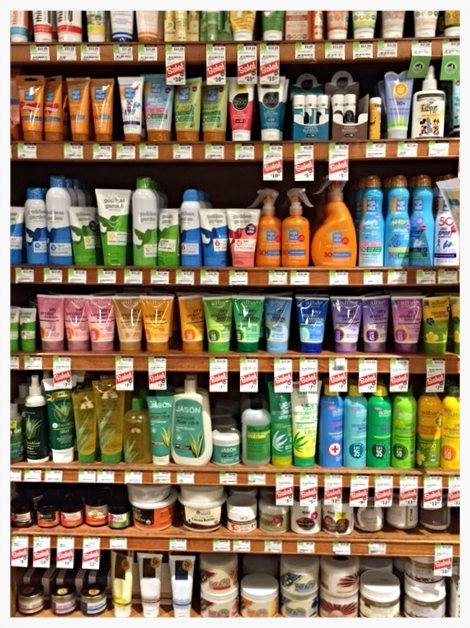 Just a portion of sunscreens at Whole Foods