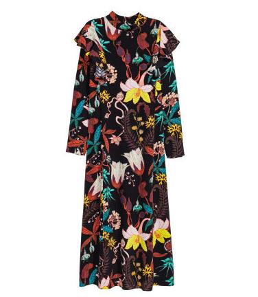 H&M Ruffled Patterned Dress