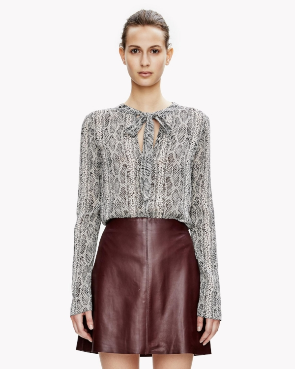 Theory - Snake Print Tie-Front Top & Leather Mod Mini