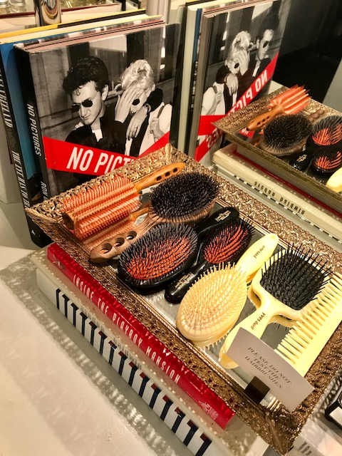 - Natural bristle brushes add to shine to hair.