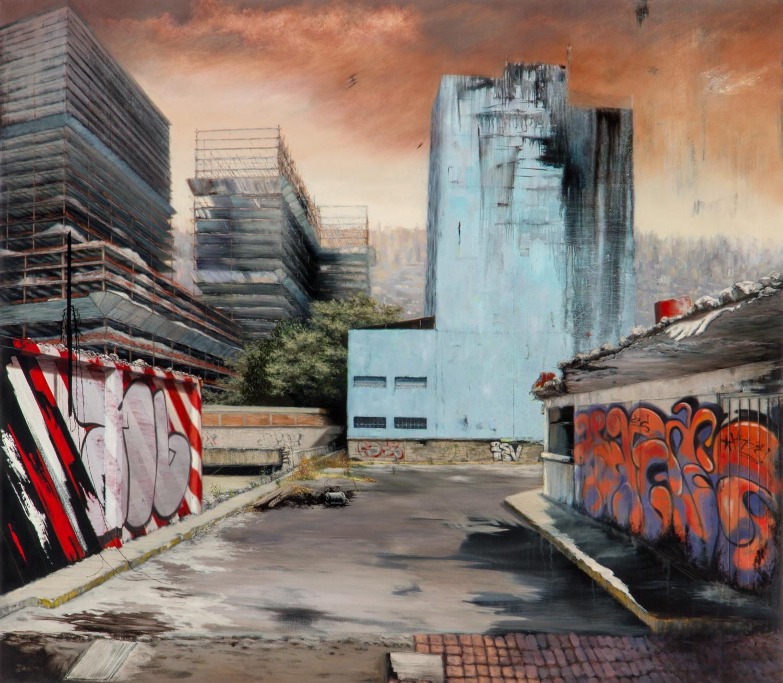 Entrada ,Óleo y acrílico sobre tela,140 x 160 cm, 2011     Entrance ,Oil and acrylic on canvas,4' 7.1'' x 5' 3'', 2011