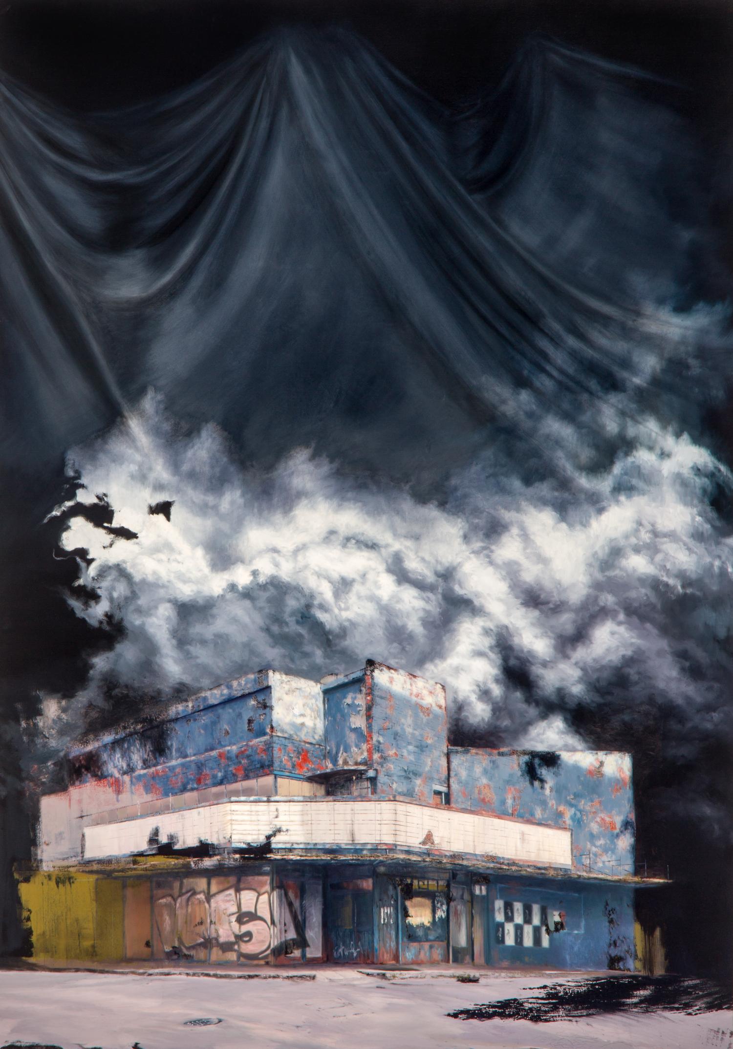 Detrás de la Representación ,Óleo y acrílico sobre tela,200 x 140 cm,2011     Behind Representation ,Oil and acrylic on canvas,6' 6.74''x 4' 7.11'' 2011